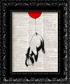 Eeyore Flys Away On Love - Vintage Dictionary Print Vintage Book Print Page Art Upcycled Vintage Book Art on Etsy, $8.98