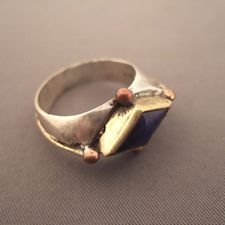 """Silver, copper, gildings, Lapis lazuli, Afghanistan Description : This old ring is decorated with a beautiful bead of Lapis lazuli from Afghanistan and the body of the ring is also nicely worked... Size:8,3 adaptable Weight:8,05gr www.halter-ethnic.com...see """"My Lucky Finds"""" Also for sale in my shop or online at small interesting price"""