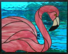 Stained Glass Flamingo Pink Flaminago With Aqua Blue Water Stained Glass Panel Stained Glass Ornaments, Stained Glass Birds, Faux Stained Glass, Stained Glass Designs, Stained Glass Panels, Stained Glass Projects, Stained Glass Patterns, Mosaic Patterns, Fused Glass