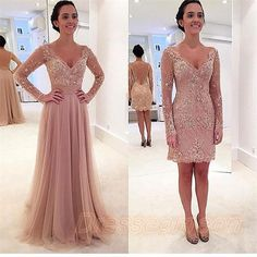 Newest Removable Long Sleeves Prom Dresses,Lace V-neck Evening Dresses  http://www.bonanza.com/listings/Newest-Removable-Long-Sleeves-Prom-Dresses-Lace-V-neck-Evening-Dresses/323110740