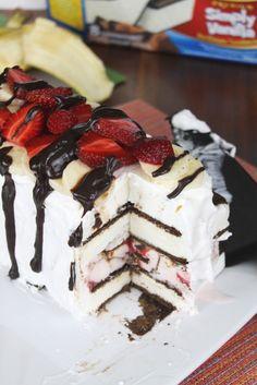 Banana Split Ice Cream Sandwich Cake