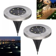 Solar in-Ground Lights Pathonor 4 LED 2 Pack White Ray Pathway Landscape Flood Light Outdoor Water Resistant Dark Sensing Auto On/Off Lawn Garden Pati Garden Lighting Tips, Landscape Lighting, Lighting Ideas, Pathway Lighting, Club Lighting, Luz Solar, Solar Lamp, Outdoor Light Fixtures, Outdoor Lighting