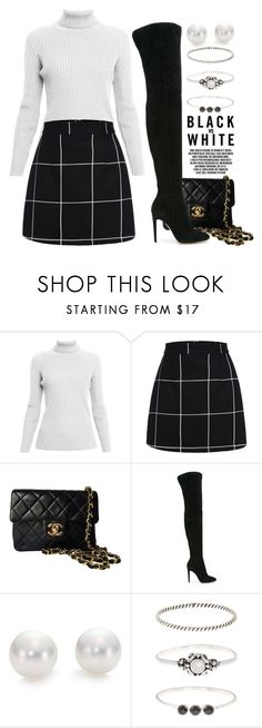"""Monochrome Chic 2970"" by boxthoughts ❤ liked on Polyvore featuring Rumour London, Chanel, Gianvito Rossi, Mikimoto, Accessorize and contestentry"