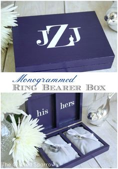 Monogrammed Ring Bearer Box from @Rebecca - {The Crafted Sparrow}