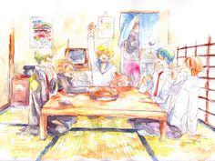 Binan Koukou Chikyuu Bouei-bu LOVE! - Io, Ryuu, Yumoto, Wombat, Gora (Yumoto's older brother), Atsushi, and En.