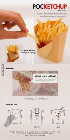 Diese Pommes-Tüte mit eingebauter Ketchup-Tasche. | 29 Produkte, von denen alle faulen Menschen träumen