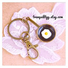 Breakfast Key Ring Sunny Side up Fried Egg Alloy  by tranquilityy