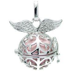 Klangkugel pink mit Flügeln - Engelsflüsterer - inkl. 70 cm Halskette