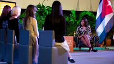 Michelle Obama speaks with Cuban girls during a Let Girls Learn roundtable in Havana on March 21.