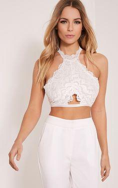 Milani White Lace Halterneck Bralet