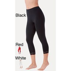 @Overstock - Pretty, ankle-length lace trim leggings feature a comfortable cotton-spandex fabric blend for support as well as give and includes lace at the ankles. Adorable on their own or under a short skirt, these unlined leggings come in black, red and white.http://www.overstock.com/Clothing-Shoes/Ilusion-Womens-Ankle-length-Lace-Trim-Leggings/5808937/product.html?CID=214117 $12.99
