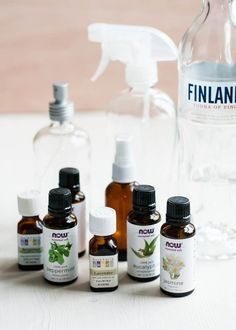 Essential oil room spray ingredients | 1 tablespoon vodka 6 tablespoons filtered water 10-40 drops of essential oils (peppermint, jasmine, citrus, lavender, etc)