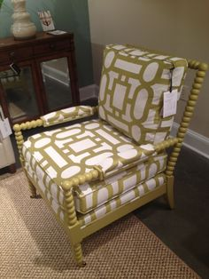 High Point Market Spring 2012-Stunning Chartreuse Spool Chair with Geometric Print from C. R. Laine.