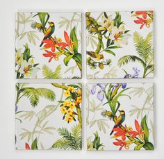 Coasters Tropical Garden Flowers and Birds Exotic by Tilissimo, $25.00