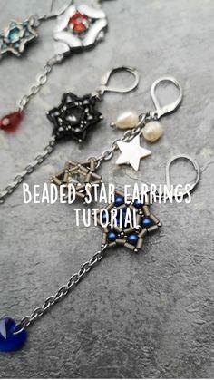 Crystal Brooch, Beaded Brooch, Crystal Earrings, Star Earrings, Beaded Earrings, Earring Crafts, Bead Kits, Handmade Beaded Jewelry, Earring Tutorial