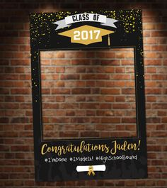 Black and Gold Graduation Photo Booth. Digital File Only Black and Gold Graduation Photo Booth. Great for graduation parties! Colors and text customizable. 8th Grade Graduation, College Graduation Parties, Graduation Celebration, Graduation Decorations, Graduation Party Decor, Grad Parties, Graduation Centerpiece, Graduation Gifts, Party Props