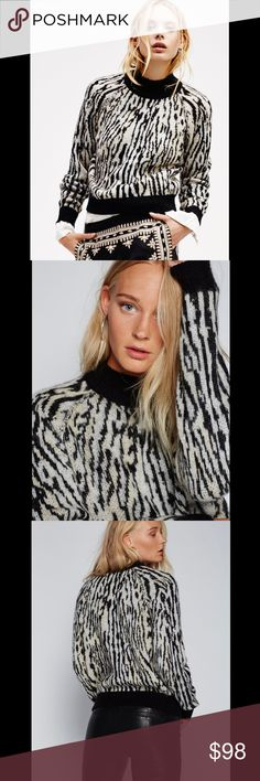 FREE PEOPLE zebra pullover sweater Cozy knit pullover with a cool girl animal print and contrast details at the neck, waist and sleeve cuffs. 112165  Retail: $98 Size: M. L  ❤I have over 300 new with tag Free People & More items for sale! I love to offer bundle discounts!  ❤No trades. I no longer discuss pricing in comments. Please use offer button to submit offer! 😊 Free People Sweaters Crew & Scoop Necks
