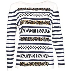 Marc Jacobs Stripe Sweater (5,130 ILS) ❤ liked on Polyvore featuring tops, sweaters, cat sweater, cat print top, white sweaters, white tops and white cat sweater