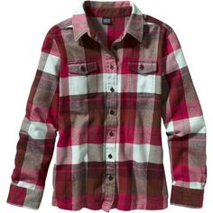 Patagonia Women's Long-Sleeved Fjord Flannel Shirt ($63) ❤ liked on Polyvore featuring tops, shirts, flannel, blusas, maraschino, long sleeve button shirt, tartan flannel shirt, shirts & tops, button shirts and striped shirt
