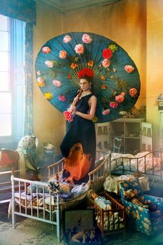 """""""Welcome to the Hothouse"""": Flowers and Intense Colors in an English Country House by Ruven Afanador for Town & Country"""