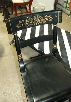 Vintage Black Hitchcock Rocker Rocking Chair By
