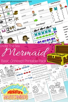 """Under The Sea Mermaid Free Printable Basic Concept Book My youngest asked me to finish this basic concept pack for her so she could do her """"homework"""" today and being someone who can&#82…"""