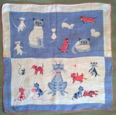 Tammis Keefe cat and kittens hanky