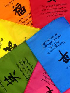 Life affirming bunting with Feng Shui Symbols from Indonesia