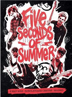 MADRID. 5 Seconds of Summer limited Rock out with your socks out tour posters (ROWYSO) 5SOS
