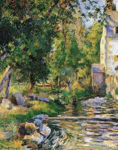 """Camille Pissarro - ~ """"Osny, Lavoir & Petit Moulin (Mill of the Rock)"""", 1884 Oil on Canvas 65 x 54 cm ~ Private collection Paul Gauguin, Manet, Watercolor Landscape, Landscape Art, Renoir, Camille Pissarro Paintings, Pissaro Paintings, Impressionist Artists, Richard Diebenkorn"""