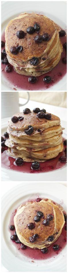 Greek Yogurt Pancakes with Blueberry Maple Syrup are fluffy Greek yogurt pancakes topped with fresh blueberry maple syrup!