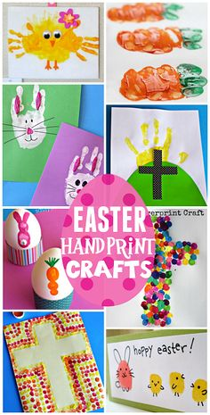 #Easter Handprint and Fingerprint Crafts for Kids (Find bunnies, carrots, chicks, crosses, and more!)