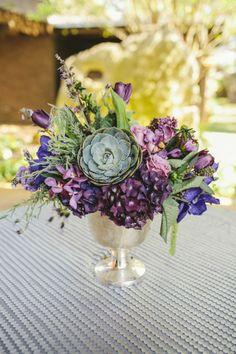 Chic and elegant purple wedding reception ideas.