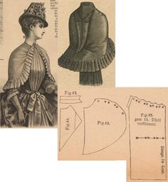 Der Bazar Fichu-mantelet from drab colored cloth with same toned atlas… Victorian Costume, Victorian Steampunk, Steampunk Costume, Victorian Fashion, Doll Dress Patterns, Clothing Patterns, Sewing Patterns, Historical Costume, Historical Clothing