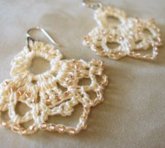 JeweledElegance: New Crochet Pattern: Empire Beaded Lace Earrings