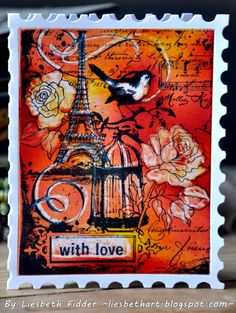 Liesbeth Fidder -  a card made with the stamp Eiffel Collage Stampendous.  I ♥♥ her creativity...
