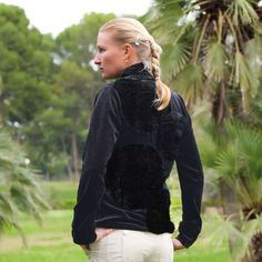 Poodle Golf's 'Moondoggie Plush' organic cotton pullover with faux fur collar & back design. Yummy for fall. #golf