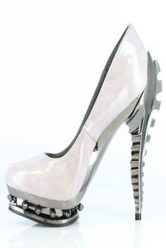 Hades Shoes - Predator - Ice Patent - Alien Spine Metal Goth Cyber Punk Alternative Emo Scene Heel - Salient Seven
