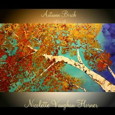 Birch Trees Original Deep Gallery Canvas Painting Landscape Palette Knife,Fall Colors by Nicolette Vaughan Horner on Etsy, $295.00