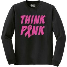 Breast Cancer Shirt Pink Ribbon Shirt Awareness Shirt Think Pink... ($14) ❤ liked on Polyvore featuring tops, t-shirts, black, women's clothing, pink ribbon shirts, vneck t shirts, print shirts, black t shirt und pattern t shirt