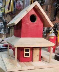 birdhouses Create the ultimate bird sanctuary with this beautiful, two story bird house! This piece is a unique and eye-catching way to add warmth and color to your yard while also providi Wooden Bird Houses, Bird Houses Diy, Learn Woodworking, Woodworking Projects, Homemade Bird Houses, Bird House Plans, Birdhouse Designs, Wood Bird, Bird Boxes