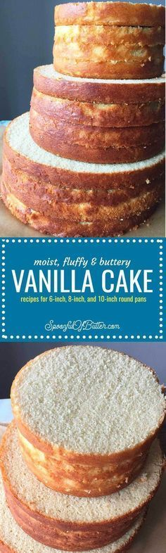 Buttery and full of vanilla flavor. This is my go-to vanilla cake recipe for layered cakes - much better than the artificial-vanilla boxed variety.