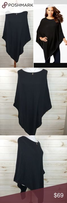 Charter Club Black Poncho NWT - Great Condition - Never Worn - So Adorable!  #Cable Knit - Loose Knit Sweater Sweaters
