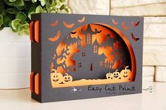 Sale 50   Halloween Boo 3D gift Card Laser cut SVG DXF