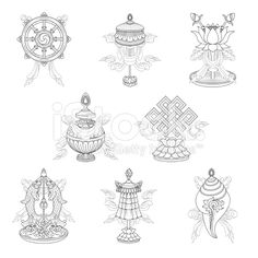 Eight auspicious signs / Ashtamangala (Line drawing) – (Buddhist symbols) royalty-free stock vector art