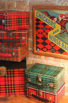 Vintage plaid Lunch boxes / #tartan #tablescape www.arcsvaluevillage.org