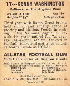 1948 Leaf #17a Kenny Washington Back