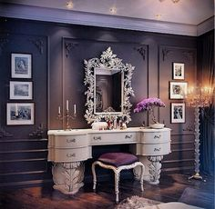 Luxury vanity luxury vanity tables the orphanage beauty room vanity room and home luxury bath vanity Vanity Room, Vanity Set, Vanity Ideas, White Vanity, Vanity Decor, Mirror Ideas, Closet Vanity, Small Vanity, White Mirror