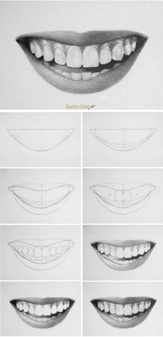 How to draw teeth and lips - 7 easy steps - .- man Zähne und Lippen zeichnet – 7 einfache Schritte – How to draw teeth and lips – 7 easy steps – Cool Art Drawings, Pencil Art Drawings, Art Drawings Sketches, Easy Drawings, People Drawings, Drawings Of Eyes, Outline Drawings, Art Illustrations, Teeth Drawing