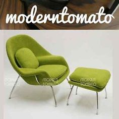 Mid Century Modern Danish Retro Womb Chair + Stool : Chartreuse : Egg Swan  Ball